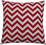JinStyles Cotton Canvas Chevron Striped Accent Decorative Throw Pillow Cover / Cushion Sham (Red & White, Square, 1 Cover for 18 x 18 Inserts)