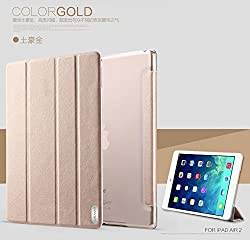 For Apple IPad Air 2 USAMS Viva Series Leather Flip Stand Back Panel Pouch Case Cover for Ipad Air 2 - Gold