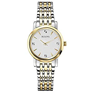 Bulova Diamond Women's Quartz Watch with Silver Dial Analogue Display and Gold/Silver Ion-Plated Bracelet - 98P115