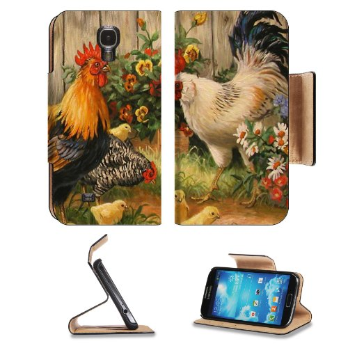 Rooster Cockerel Hens Chicks Fmaily Samsung Galaxy S4 Flip Cover Case With Card Holder Customized Made To Order Support Ready Premium Deluxe Pu Leather 5 Inch (140Mm) X 3 1/4 Inch (80Mm) X 9/16 Inch (14Mm) Luxlady S Iv S 4 Professional Cases Accessories O