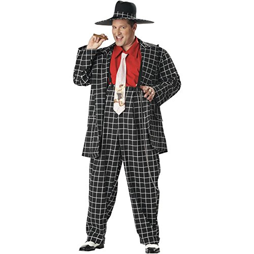 Adult Plus Size Black Zoot Suit Halloween Costume (Size: Plus 48-52)