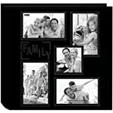 """Pioneer Collage Frame Embossed """"Family"""" Sewn Leatherette Cover 240 Pocket Photo Album, Black"""