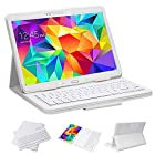 SUPERNIGHT Samsung Galaxy Tab 4 10.1 Case with Keyboard - Ultra Slim Detachable Bluetooth Keyboard Portfolio Leather Case Cover for Samsung Tab 4 10.1 Inch T530 T531 T535 Tablet , White Color