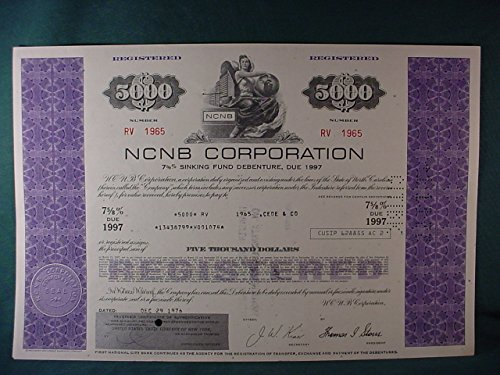 Rare NCNB Corporation Original Near Mint Cancelled $5000 Registered Sinking Fund Debenture Certificate Issued In 1976 PDF