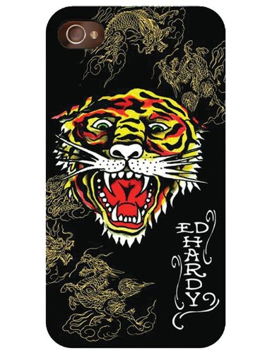 Ed Hardy Tiger With Dragons Design One Piece Faceplate Protector Snap On Case Cover For Iphone 4S / 4 / 4G - Includes A 3.5Mm Stereo Headset * *