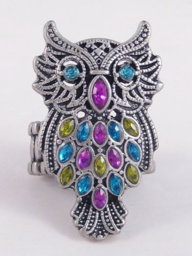 One New Beautiful Owl Stretch Ring with Multi Colored Crystals