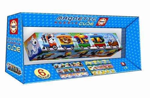 Imagen 1 de Magnetic Puzzle Cube - Juego Magnetic Puzzle Cube 5 Tren De Animales (Educa Borrás - 14069)