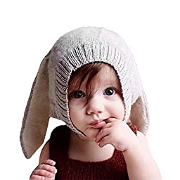 Multifit Toddler Baby Rabbit Ear Winter Beanie Hat Infant Photography Prop Cap(Gray)