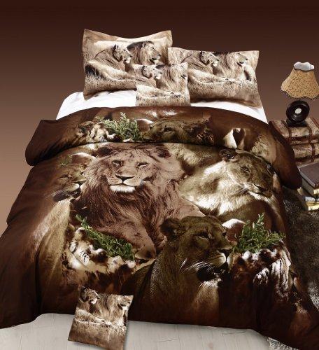 Cozy Beddings Lion 100-Percent Cotton 5-Piece Duvet Cover Set, Reversible with Duvet Insert, Queen, Brown