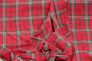 Homescapes Pure Cotton Furnishing Fabric - Edward Tartan Check - Red Green - 150 cm Wide - Thick Yarn Dyed Woven - for Upholstery Curtain Cushion Soft Furnishings Heavy Dress Material - Per Metre