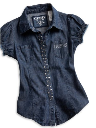 GUESS Kids Girls Big Girl Woven Top with Mixed Rivets, DARK DENIM RINSE (10/12)