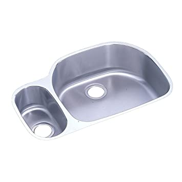 Elkay - Lustertone Undermount Stainless Steel 31-9/16x21-1/8x7.5 0-Hole Double Bowl Kitchen Sink - Stainless Steel