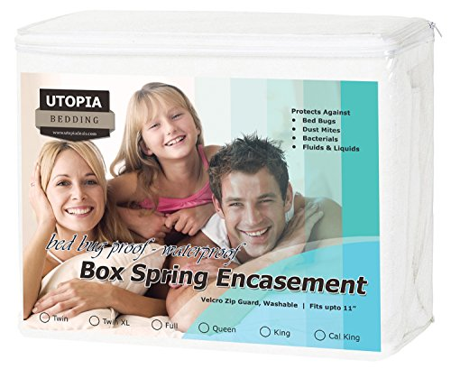 Fantastic Deal! Waterproof Knitted Box Spring Encasement (KING) - Ultimate Protection - Preserves Bo...