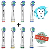 The Ultimate Oral B Replacement Toothbrush Heads By OralShine | Remove Plaque & Decrease Gingivitis | 4 Regular Heads & 4 Bonus Soft Round Heads | Oral B Rechargeable Toothbrush Compatibility