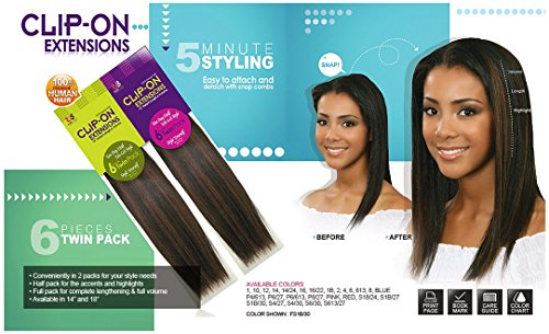 BOBBI-BOSS-100-Human-Hair-CLIP-ON-Extensions-Instant-Length-Volume-6-Pieces-Single-Pack