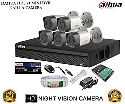 Dahua DH-HCVR4108HS-S2 8CH Dvr, 5(DH-HAC-HFW1000RP-0360B) Bullet Cameras (with Mouse, 1TB HDD,Cable, Bnc&Dc Connectors,Power Supply)