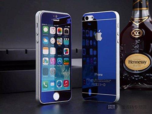 【ノーブランド品】iphone5&5S用 9H強化ガラスフィルム 表裏完全保護フィルムケース0.2MM(4色)保護ケース、超軽量 ケース (青)