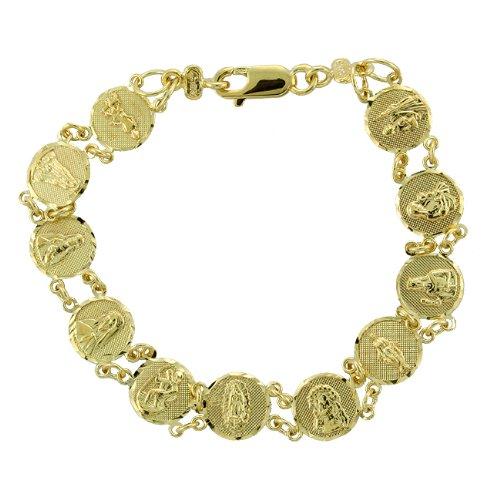 Caribe Gold 14k Gold Over Silver 7-inch Saints Medal Bracelet