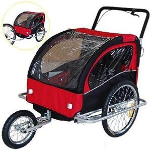 Veelar Children Bicycle Trailer Jogging Stroller Combo 2 in 1 Red Black 50201 by Veelar