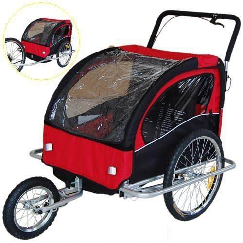 Find Bargain Veelar Children Bicycle Trailer Jogging Stroller Combo 2 in 1 Red/Black 50201