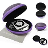 LOVE MY CASE / PURPLE Fabric MP3 Player Case, cover, shell - Clamshell Style with Zip Enclosure, designed Inner Pocket, Durable Exterior Apple iPod Shuffle 2nd / 3rd / 4th Generation with Love my Case Cleaning cloth