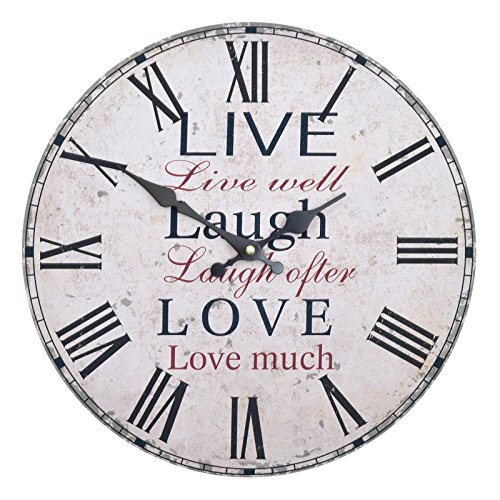 wanduhr live laugh love holz k chenuhr mit gro em ziffernblatt aus mdf retro uhr im. Black Bedroom Furniture Sets. Home Design Ideas