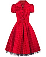Pretty Kitty Fashion 50s Red Black Polka Dot Swing Tea Dress - AVAILABLE UP TO SIZE 26!!