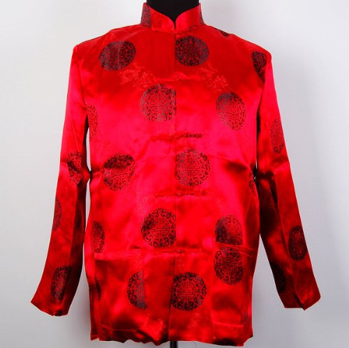 Chinese Men Dot Kung Fu Suit Yoga Jacket Red Available Sizes: S, M, L, XL (Adult Yellow Zoot Suit Costume)