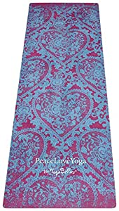 PeaceLoveYoga Mat (Kama) Beautiful, Luxury, Designed for women, Non-slip, Natural rubber, Eco-friendly, Phthalate free, Micro-fibre surface eliminates need for a separate yoga towel, The more you sweat the more it grips! World's best yoga mat.