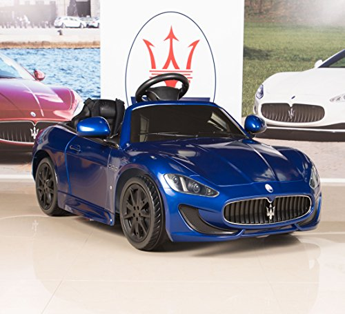 ride on car kids maserati grancabrio 12v battery power wheels rc remote blue little kid cars