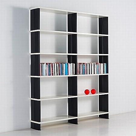 Modular bookshelves NIKKA Modern white bookcase .Made in Italy BLACK sidepanels cm. 180 x 217 h x 30