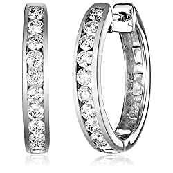 14k Gold Channel-Set Diamond Hoop Earrings (3/4 cttw, H-I Color, I1-I2 Clarity)