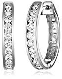 14k White Gold Channel-Set Diamond Hoop Earrings (3/4 cttw, H-I Color, I1-I2 Clarity)