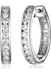 14k Gold Channel-Set Diamond Hoop Earrings (3/4 cttw, H-I Color, I1-I2 Clarity)