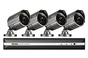 Q-See QS458-452-5 8-Channel Security Surveillance DVR System with 4 High-Resolution Cameras and 500GB Hard Drive (Black)