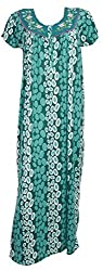 Odishabazaar Women's Nighty Hosiery Cotton Maxi Dress Green Floral Print Night Wear M