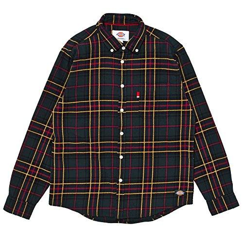 (ディッキーズ)DICKIES 裏起毛綿ビエラチェックL/S-BDシャツ 154M20WD04 GYR グリーンxイエローxレッド M