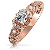Bling Jewelry Filigree Art Deco Style Rose Gold Plated 925 Silver CZ Engagement Ring 925 Silver