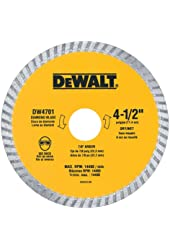 DEWALT DW4701 Industrial 4-1/2-Inch Dry or Wet Cutting Continuous Rim Diamond Saw Blade with 7/8-Inch Arbor