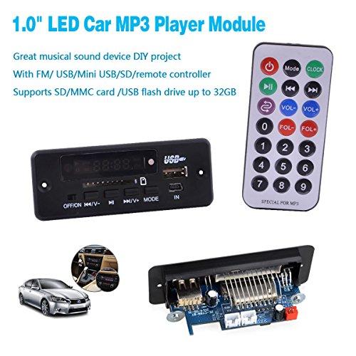 "1.0"" LED Car Mp3 Player Module w/ Fm/ Usb/mini Usb/sd/remote"