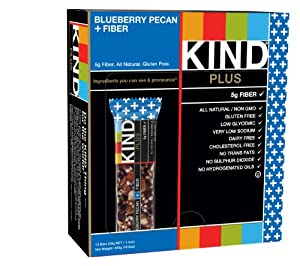 KIND PLUS, Blueberry Pecan + Fiber Bars, 1.4 Oz Gluten Free Bars (Pack of 12)