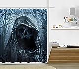 Halloween Night Theme Strange Skull Shower Curtain Polyester Fabric Mildew Proof Waterproof Cloth Shower Room Decor Shower Curtains(72Wx72L)
