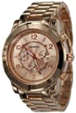 839-rg Rose Gold Chronograph Unisex Boyfriend Style Designer Metal Link Watch