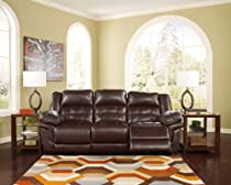 Hot Sale Randon Mahogany Tone Faux Leather Upholstered Divided Back Reclining Power Sofa