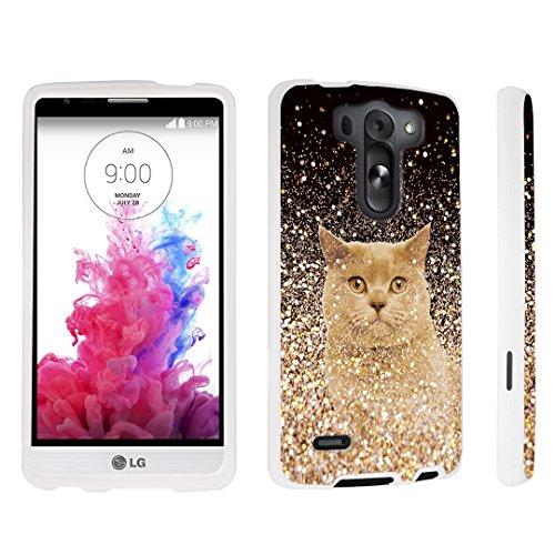 DuroCase LG G3 Vigor D725 / LG G3 Vigor LS885 / LG G3 Mini / LG G3 Beat / LG G3 S D722 Hard Case White - (Gold Glitter Cat) (Lg G3 S D722 Case compare prices)