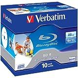 Verbatim Blu-Ray Laser Disk BD-R 25Gb 6X Jewel Inkjet Printable Pack of 10 43713