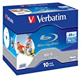 Verbatim Blu-Ray Laser Disk BD-R 25Gb 6X Jewel Inkjet Printable Pack of 10 43713