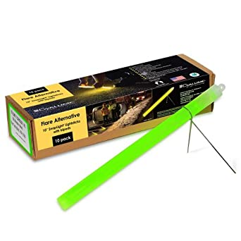 "Cyalume Industrial Grade SnapLight Flare Alternative Chemical Light Sticks With Bipod Stand, Green, 10"" Long, 2 Hour Duration (Pack of 10)"