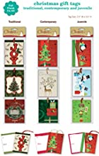Christmas Gift Tags Embelished Foil Finish Holiday Present Name Tags 36 Jumbo Hangers in 9 Assorted