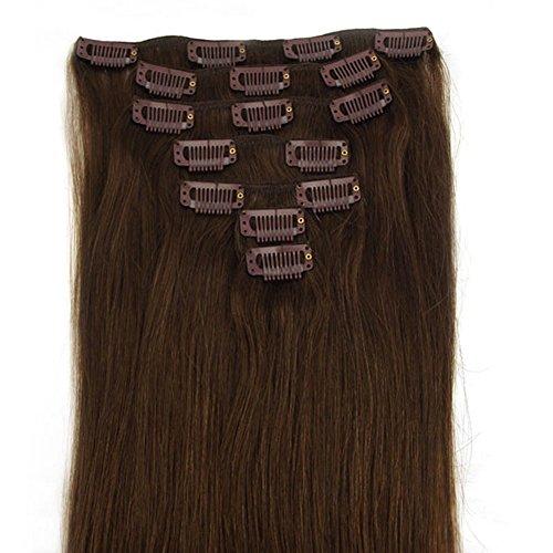 RemyHair Remy Echthaar Haarverlaengerung Clip-In-Extensions 38CM 16clips 70g#4 Schokobraun